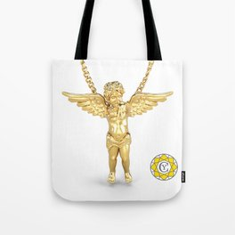 Gold Angel Pendant and Chain Trompe L'oeil YC Tote Bag