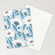 Hand drawn pattern with white flowers Stationery Cards