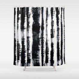 Tie-Dye Shibori Stripe BW Shower Curtain