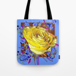 GRAPHIC YELLOW ROSE BLUE FLOWERS BROWN ART Tote Bag
