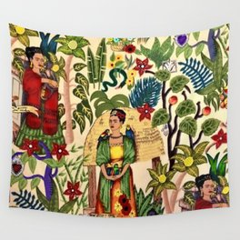 Frida's Garden, Casa Azul Lush Greenery Frida Kahlo Landscape Painting Wall Tapestry