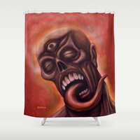 third eye Shower Curtains featuring Third Eye by Robert Elrod