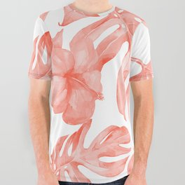 Tropical Hibiscus and Palm Leaves Dark Coral White All Over Graphic Tee