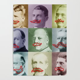 Mustaches Lover Retro Photo Funny Poster