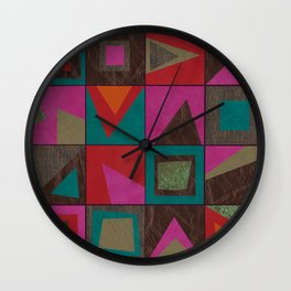 squares of colors and shreds Wall Clock