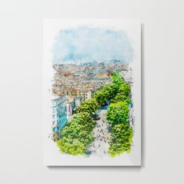 Aquarelle sketch art. Barcelona from above Metal Print