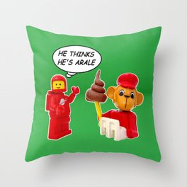 """space lego meeting the """"arale wannabe"""" monkey Throw Pillow"""