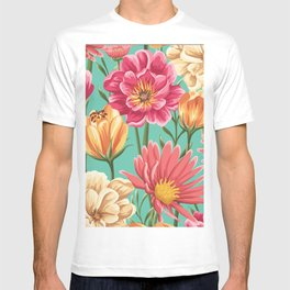 Kitschy Nineties Flower Pattern in Pink and Aqua T-shirt