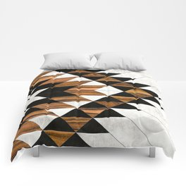 Urban Tribal Pattern 9 - Aztec - Concrete and Wood Comforters