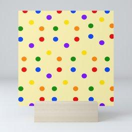 Colorful Dots on light yellow background Mini Art Print