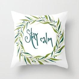 Blue green stay calm wreath Throw Pillow