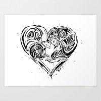 ferret Art Prints featuring Ferret Love by Mel Hampson