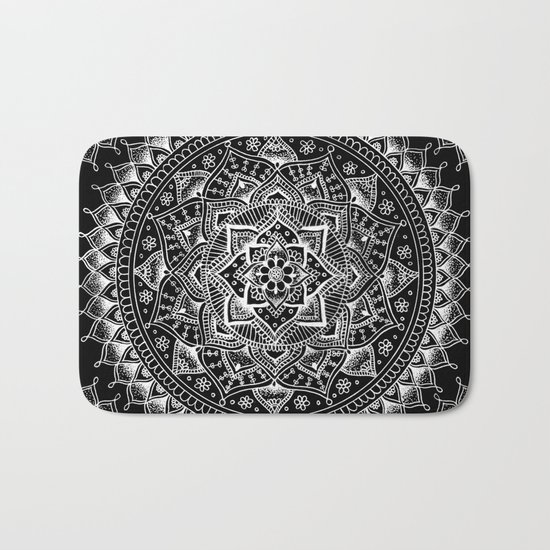 White Flower Mandala on Black Bath Mat