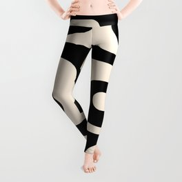 Mid Century Modern Piquet Abstract Pattern in Black and Almond Cream Leggings