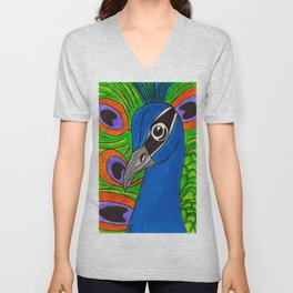 Hector the Glorious Peacock Unisex V-Neck
