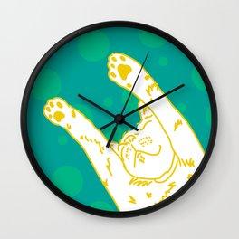 Contented Cat - Green Spots Wall Clock