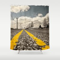 road Shower Curtains featuring Road by Color and Patterns