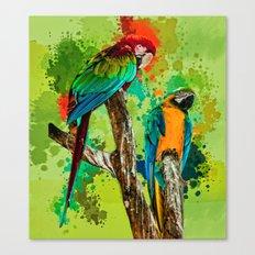 Paint Splashed Macaws Canvas Print