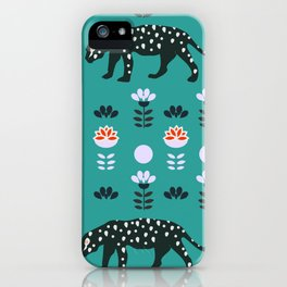 Cute jaguars and wildflowers iPhone Case