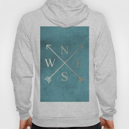 Gold on Turquoise Distressed Compass Adventure Design Hoody