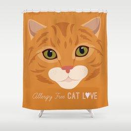 Allergy Free Cat Love: Ginger Tabby Shower Curtain
