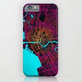 Manila City Map of Philippines - Neon iPhone Case