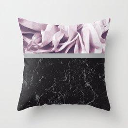 Light Purple Flower Meets Gray Black Marble #1 #decor #art #society6 Throw Pillow