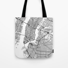 New York Map White Tote Bag