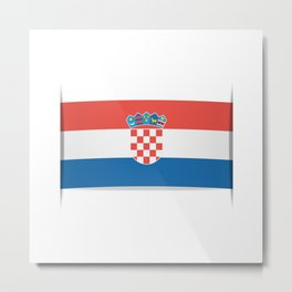 Flag of Croatia.  The slit in the paper with shadows.  Metal Print