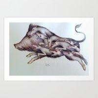 Wild Boar Hunt Art Print