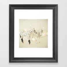 White Horses Framed Art Print