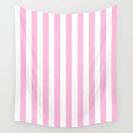 Narrow Vertical Stripes - White and Cotton Candy Pink Wall Tapestry