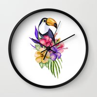 toucan Wall Clocks featuring Toucan by Julia Badeeva