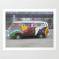 Flowerpower Volkswagen Art Print