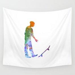 Man skateboard 09 in watercolor Wall Tapestry