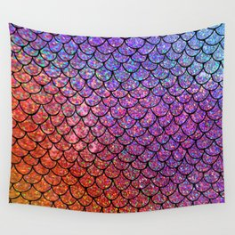Colorful Glitter Mermaid Scales I Wall Tapestry