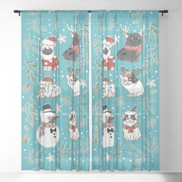 Christmas French Bulldog Sheer Curtain