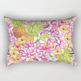 Tropical flower and pineapple watercolor art Rectangular Pillow