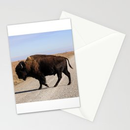 An Oklahoma Landscape of Bison Crossing a Road Stationery Cards