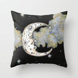 Man in the Moon Painting Throw Pillow