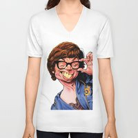 snl V-neck T-shirts featuring Austin Power, Mike Myers, color by Patrick Dea