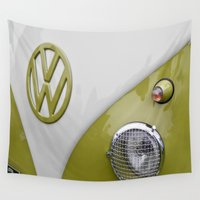 vw bus Wall Tapestries featuring VW Camper Sage Green by Alice Gosling
