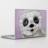 propaganda Laptop & iPad Skins featuring Baby Seal Propaganda - purple by alterEGO