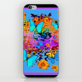 Black Decorative Blue Butterflies Floral Art iPhone Skin