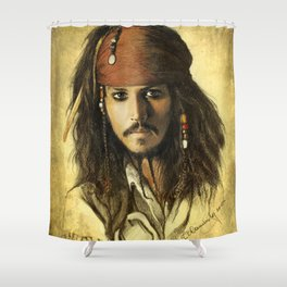 Portrait of a pirate Shower Curtain