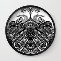 henna Wall Clocks featuring Henna of Pugly by Huebucket