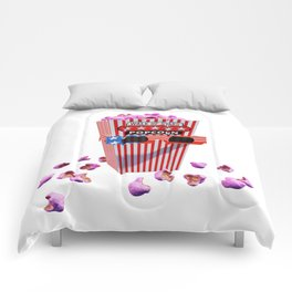 Pink Candy Popcorn and 3D Movie glasses Comforters