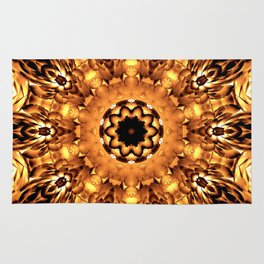 Yellow Brown Mandala Abstract Flower Rug