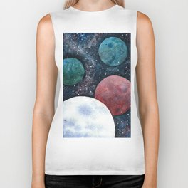 Journey through the cosmos. Alien planet watercolor Biker Tank