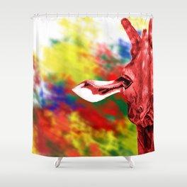 Oblivious Giraffe Shower Curtain